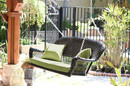 Jeco W00207S-D-FS029 Black Wicker Porch Swing with Green Cushion