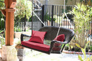 Jeco W00207S-D-FS030 Black Resin Wicker Porch Swing With Red Cushion