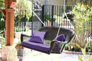 Jeco W00207S-D-FS031 Black Resin Wicker Porch Swing With Purple Cushion