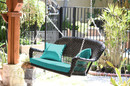 Jeco W00207S-D-FS032 Black Resin Wicker Porch Swing With Turquoise Cushion