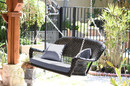 Jeco W00207S-D-FS033 Black Resin Wicker Porch Swing With Steel Blue Cushion