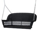 Jeco W00207S-D Black Resin Wicker Porch Swing