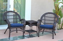 Jeco W00208_2-CES011 3Pc Santa Maria Espresso Wicker Chair Set - Midnight Blue Cushions