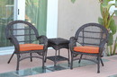 Jeco W00208_2-CES016 3Pc Santa Maria Espresso Wicker Chair Set - Orange Cushions