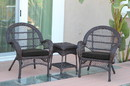 Jeco W00208_2-CES017 3Pc Santa Maria Espresso Wicker Chair Set- Black Cushions