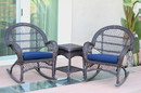 Jeco W00208_2-RCES011 3Pc Santa Maria Espresso Rocker Wicker Chair Set - Midnight Blue Cushions