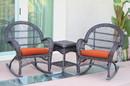 Jeco W00208_2-RCES016 3Pc Santa Maria Espresso Rocker Wicker Chair Set - Orange Cushions