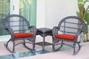 Jeco W00208_2-RCES018 3Pc Santa Maria Espresso Rocker Wicker Chair Set - Brick Red Cushions