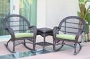 Jeco W00208_2-RCES029 3Pc Santa Maria Espresso Rocker Wicker Chair Set - Sage Green Cushions