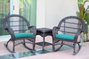 Jeco W00208_2-RCES032 3Pc Santa Maria Espresso Rocker Wicker Chair Set - Turquoise Cushions