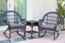 Jeco W00208_2-RCES033 3Pc Santa Maria Espresso Rocker Wicker Chair Set - Steel Blue Cushions