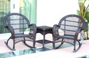 Jeco W00208_2-RCES 3Pc Santa Maria Espresso Rocker Wicker Chair Set Without Cushion