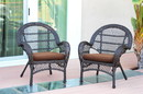 Jeco W00208-C_2-FS007-CS Santa Maria Espresso Wicker Chair With Brown Cushion - Set Of 2