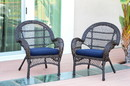 Jeco W00208-C_2-FS011-CS Santa Maria Espresso Wicker Chair With Midnight Blue Cushion - Set Of 2