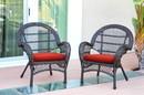 Jeco W00208-C_2-FS018-CS Santa Maria Espresso Wicker Chair With Brick Red Cushion - Set Of 2