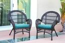 Jeco W00208-C_2-FS027-CS Santa Maria Espresso Wicker Chair With Sky Blue Cushion - Set Of 2