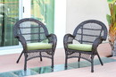 Jeco W00208-C_2-FS029-CS Santa Maria Espresso Wicker Chair With Sage Green Cushion - Set Of 2