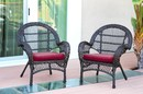 Jeco W00208-C_2-FS030-CS Santa Maria Espresso Wicker Chair With Red Cushion - Set Of 2