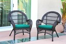 Jeco W00208-C_2-FS032-CS Santa Maria Espresso Wicker Chair With Turquoise Cushion - Set Of 2