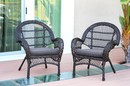 Jeco W00208-C_2-FS033-CS Santa Maria Espresso Wicker Chair With Steel Blue Cushion - Set Of 2