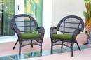 Jeco W00208-C_2-FS034-CS Santa Maria Espresso Wicker Chair With Hunter Green Cushion - Set Of 2