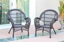 Jeco W00208-C_2 Santa Maria Espresso Wicker Chair - Set Of 2