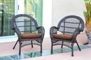 Jeco W00208-C_4-FS007-CS Santa Maria Espresso Wicker Chair With Brown Cushion - Set Of 4