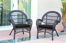Jeco W00208-C_4-FS017-CS Santa Maria Espresso Wicker Chair With Black Cushion - Set Of 4