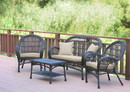 Jeco W00208-G-FS006 4Pc Santa Maria Espresso Wicker Conversation Set - Tan Cushions