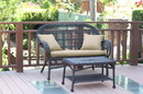 Jeco W00208-LCS006 Santa Maria Espresso Wicker Patio Love Seat And Coffee Table Set - Tan Cushion