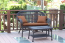 Jeco W00208-LCS007 Santa Maria Espresso Wicker Patio Love Seat And Coffee Table Set - Brown Cushion