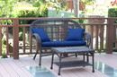 Jeco W00208-LCS011 Santa Maria Espresso Wicker Patio Love Seat And Coffee Table Set - Midnight Blue Cushion
