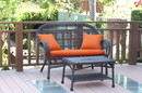 Jeco W00208-LCS016 Santa Maria Espresso Wicker Patio Love Seat And Coffee Table Set - Orange Cushion