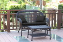 Jeco W00208-LCS017 Santa Maria Espresso Wicker Patio Love Seat And Coffee Table Set - Black Cushion