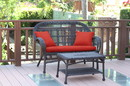 Jeco W00208-LCS018 Santa Maria Espresso Wicker Patio Love Seat And Coffee Table Set - Brick Red Cushions