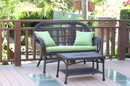 Jeco W00208-LCS029 Santa Maria Espresso Wicker Patio Love Seat And Coffee Table Set - Sage Green Cushion