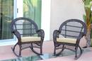 Jeco W00208-R_2-FS001-CS Santa Maria Espresso Wicker Rocker Chair With Ivory Cushion - Set Of 2