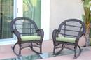 Jeco W00208-R_2-FS029-CS Santa Maria Espresso Wicker Rocker Chair With Sage Green Cushion - Set Of 2