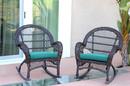 Jeco W00208-R_2-FS032-CS Santa Maria Espresso Wicker Rocker Chair With Turquoise Cushion - Set Of 2