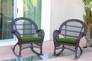 Jeco W00208-R_2-FS034-CS Santa Maria Espresso Wicker Rocker Chair With Hunter Green Cushion - Set Of 2