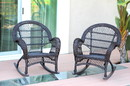 Jeco W00208-R_2 Santa Maria Espresso Rocker Wicker Chair - Set Of 2