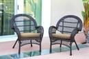 Jeco W00208-R_4-FS006-CS Espresso Wicker Rocker Chair With Tan Cushion - Set Of 4