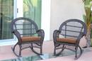 Jeco W00208-R_4-FS007-CS Espresso Wicker Rocker Chair With Brown Cushion - Set Of 4