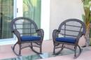 Jeco W00208-R_4-FS011-CS Espresso Wicker Rocker Chair With Midnight Blue Cushion - Set Of 4