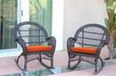 Jeco W00208-R_4-FS016-CS Espresso Wicker Rocker Chair With Orange Cushion - Set Of 4