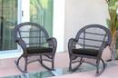 Jeco W00208-R_4-FS017-CS Espresso Wicker Rocker Chair With Black Cushion - Set Of 4