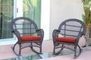 Jeco W00208-R_4-FS018-CS Espresso Wicker Rocker Chair With Brick Red Cushion - Set Of 4