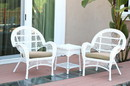Jeco W00209_2-CES006 3Pc Santa Maria White Wicker Chair Set - Tan Cushions
