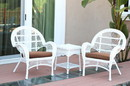 Jeco W00209_2-CES007 3Pc Santa Maria White Wicker Chair Set - Brown Cushions