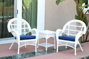 Jeco W00209_2-CES011 3Pc Santa Maria White Wicker Chair Set - Midnight Blue Cushions